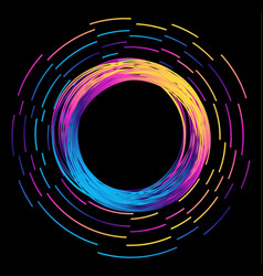 frame glowing circle with flying particles vector image