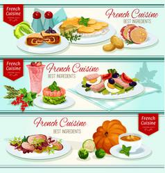 french cuisine restaurant dinner dishes banner set vector image