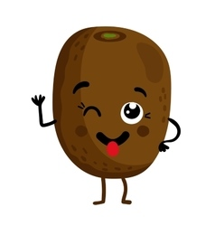 Funny fruit kiwi isolated cartoon character vector