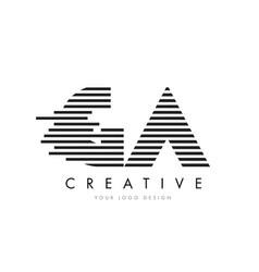 Ga g a zebra letter logo design with black vector