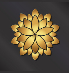 Gold mandala lotus logo vector