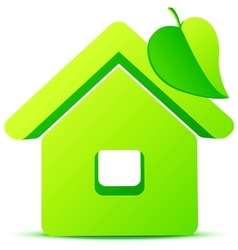 Green eco house 3d icon vector image