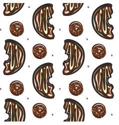 half chocolate donut seamless pattern vector image