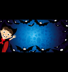 halloween banner with a vampire and bats vector image
