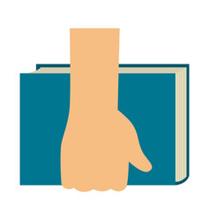 Hand holding a book icon vector