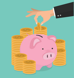 hand putting coin a piggy bank money savings vector image