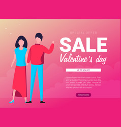 happy valentines day greeting card with young vector image