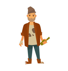 homeless man in stained t-shirt with bottle in vector image