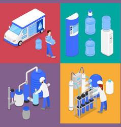 Isometric water purification factory courier vector