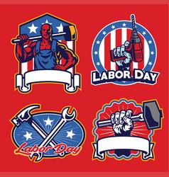 Labor badge design in set vector