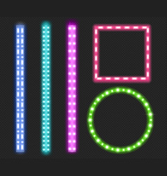 led strips neon light ribbons borders and frames vector image