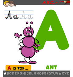 Letter a worksheet with cartoon ant vector