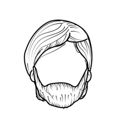 Line nice man face with haistyle and beard vector