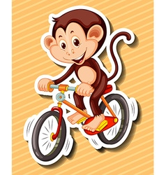 Little monkey riding bicycle vector image