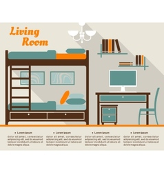 Living room flat interior design infographic vector image