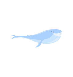 lovely blue whale cute sea creature character vector image