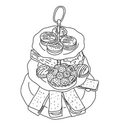 Macaron and sweets on dishes sketch vector