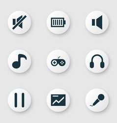 media icons set with joystick mute pause and vector image