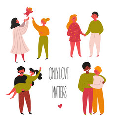 mixed ethnicity gay and straight couple valentine vector image