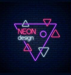 neon abstract glowing design on dark brick wall vector image