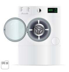 Open double washing machine with small load vector