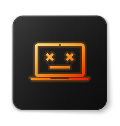 Orange glowing dead laptop icon isolated on white vector