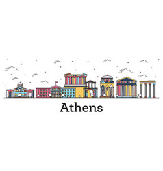 Outline athens greece city skyline with color vector