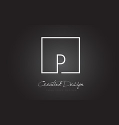 p square frame letter logo design with black and vector image
