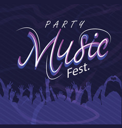 party music fest hands up people background vector image