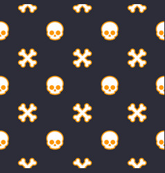 Pattern with skulls seamless halloween background vector