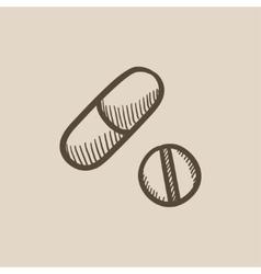 Pills sketch icon vector