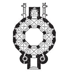 plan cathedral at aix-la-chapelle vintage vector image