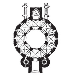 plan of cathedral at aix-la-chapelle vintage vector image