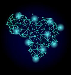 Polygonal network mesh map of venezuela with light vector