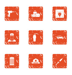 Procedure icons set grunge style vector
