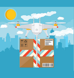 quadcopter drone with box vector image