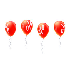 red balloons with percent sign symbol of discount vector image