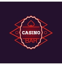 Red Bar Casino Oval Neon Sign vector