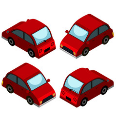 Red car from four different angles vector