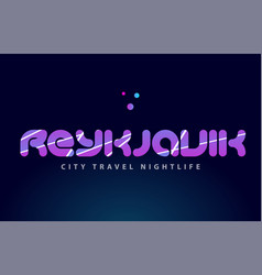 Reykjavik european capital word text typography vector