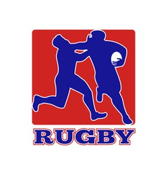 Rugby player tackle fending off vector image