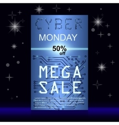 Sale technology banner for cyber monday vector