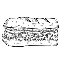 sandwich in engraving style design element vector image