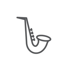 saxophone line icon on white background vector image