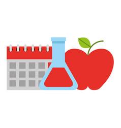 School calendar apple flask vector