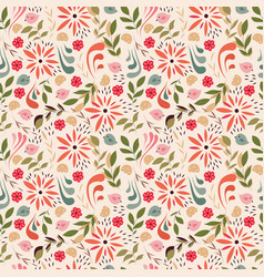 Seamless pattern design with little flowers vector