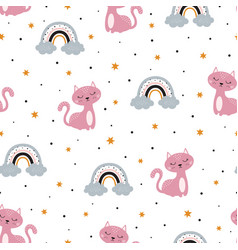 Seamless pattern with cat and rainbow for baby vector