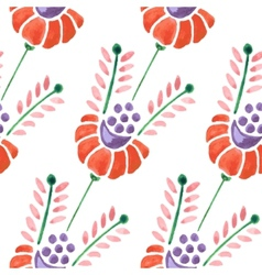 Seamless watercolor flower pattern vector