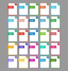 Set file format icon vector
