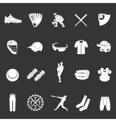 set icons baseball on a dark background vector image